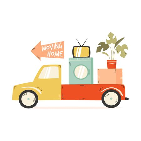 Truck carrying cardboard box, washing machine, TV, flowerpot. Relocation, moving concept Vector illustration