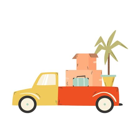 Truck carrying cardboard boxes, suitcase, flowerpot. Relocation, moving concept Vector illustration