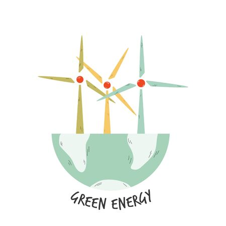 Eco poster with windmills for electric power generation. Ilustração