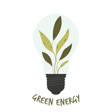Light bulb with green leaves inside. Green energy concept.
