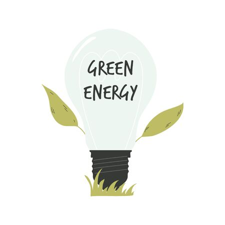Light bulb with green leaves. Green energy concept. Ilustração