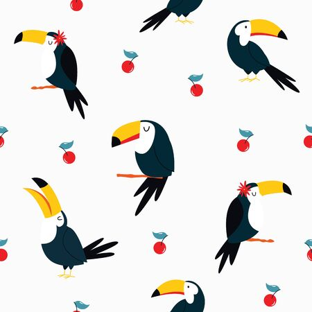 Seamless pattern with tropical toucan birds. Abstract design for textile, wrapping paper, decorations