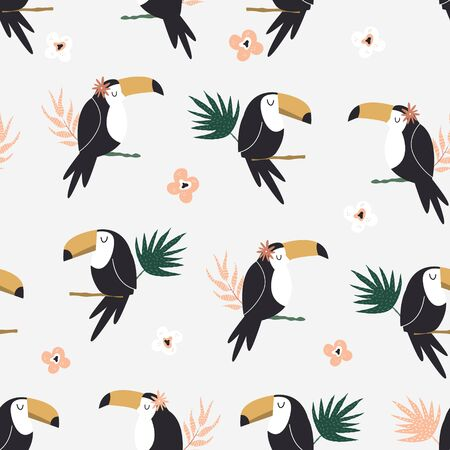 Seamless pattern with tropical toucan birds and palm leaves. Abstract design for textile, wrapping paper, decorations