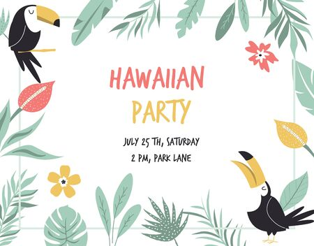Hawaiian card with toucans, flowers and palm leaves. Invitation template, banner, card, poster, flyer Vector illustration Ilustração