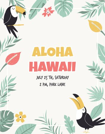 Hawaiian card with toucans, flowers and palm leaves. Invitation template, banner, card, poster, flyer