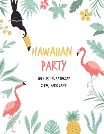 Hawaiian card with toucan, flamingos, flowers and palm leaves. Invitation template, banner, card, poster, flyer