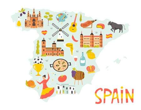 Bright illustrated map of Spain with symbols, icons, famous destinations, attractions. For travel guides, banners, posters Ilustração