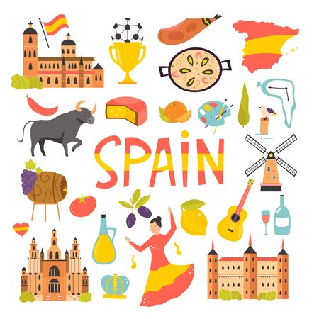 Set of icons, famous symbols of Spain. Big bundle of vector designs. objects. Ilustração