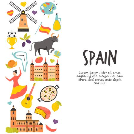 Tourist poster with famous destinations and landmarks of Spain. Explore Spain concept image. For banner, travel guides
