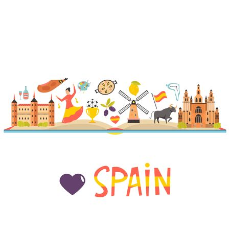 Tourist poster with famous destinations and landmarks of Spain. Explore Spain concept image. For banner, travel guides Ilustração