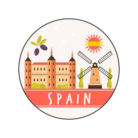 Circle abstract design with Alcazar, windmill. Explore Spain concept image. Vector illustration Ilustração
