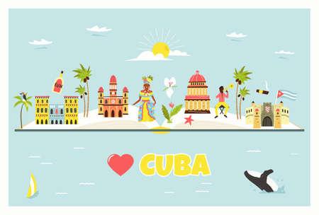 Tourist poster with famous destinations and landmarks of Cuba. Explore Cuba concept image.