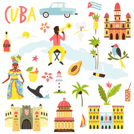 Set of icons, famous symbols of Cuba. Big bundle of vector designs.