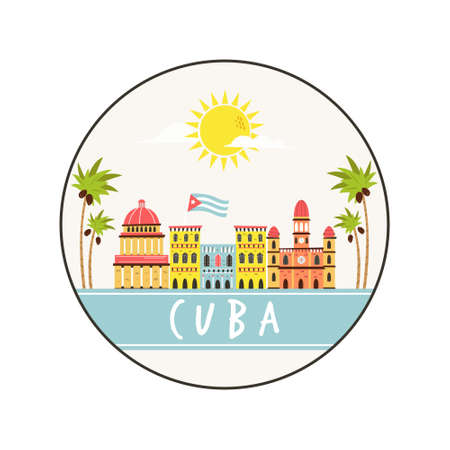 Circle abstract design with landmarks of Cuba. Explore Cuba concept image. Vector illustration