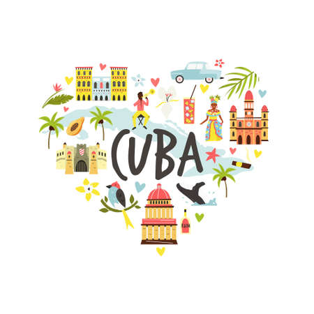 Tourist poster with famous destinations and landmarks of Cuba. Explore Cuba concept image. For banner, travel guides Archivio Fotografico - 150761150