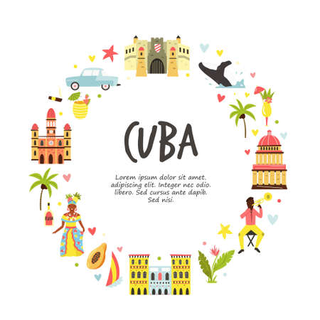 Tourist poster with famous destinations and landmarks of Cuba. Explore Cuba concept image. For banner, travel guides