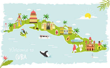 Bright illustrated map of Cuba with symbols, icons, famous destinations, attractions. For travel guides, banners, posters