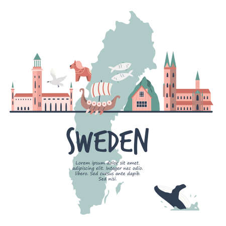 Tourist poster with famous destinations and landmarks of Sweden. Explore Sweden concept image.