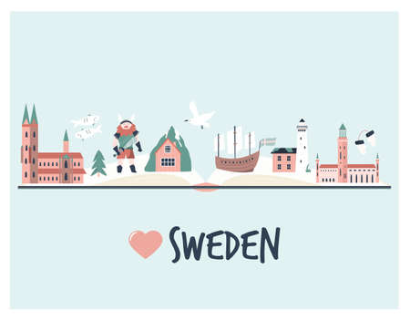 Tourist poster with famous destinations and landmarks of Sweden. Explore Sweden concept image for banners, travel guides