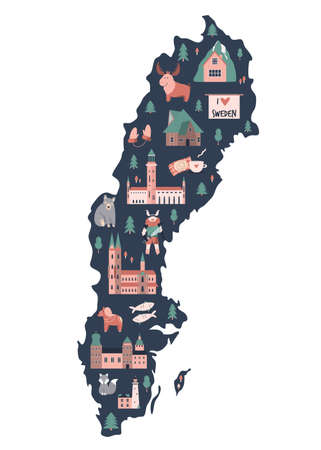 Illustrated map of Sweden with symbols, icons, famous destinations, attractions. For travel guides, banners, posters Illusztráció