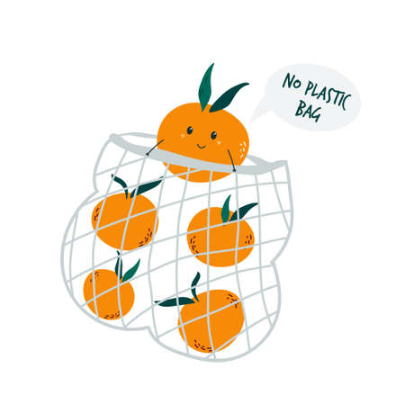 Funny mandarin character in reusable mesh shopping bag. Vector illustration