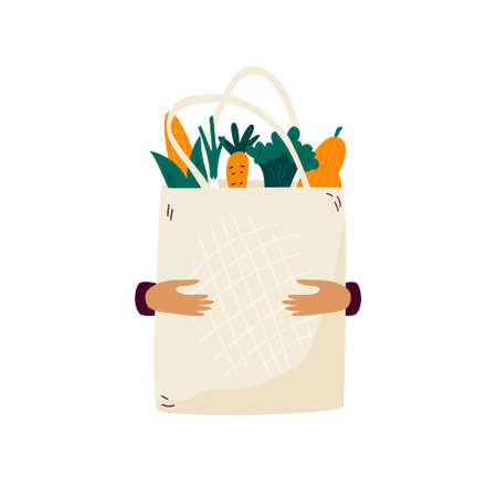 Reusable canvas eco bag with organic vegetables and fruits. No plastic packaging concept. Vector illustration