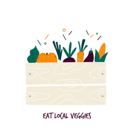 Organic vegetables in wooden box. Farmers harvest, crop. Fresh veggies. Vector illustration