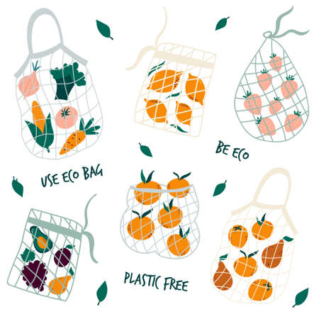 Set of reusable mesh bags with organic vegetables. No plastic concept. Vector illustration, design.
