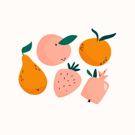 Fresh juicy fruits pear, peach, strawberry, mandarin, pomegranate Ripe harvest Vector illustration