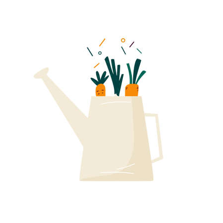 Watering can with fresh vegetables. Buy local food concept. Vector illustration Illusztráció