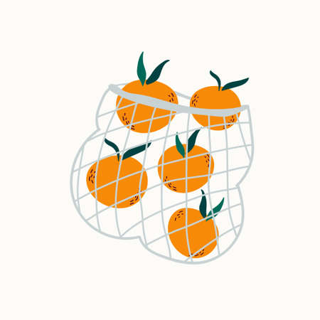 Juicy mandarins in reusable mesh shopping bag. Be eco concept, no plastic. Illusztráció