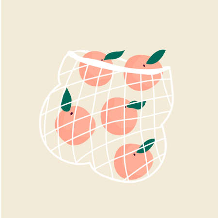 Juicy ripe peaches in a mesh eco bag. Vector illustration, design