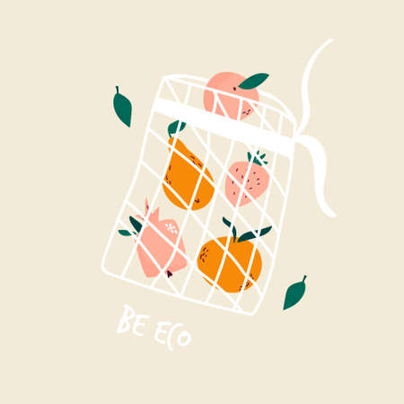 Juicy fruits in reusable mesh shopping bag. Bring your own bag concept. Illusztráció