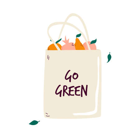 Reusable canvas eco bag with juicy organic fruits. No plastic packaging concept. Go green text. Vector illustration