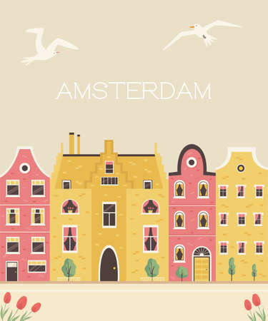 Amsterdam street with traditional buildings. Panorama postcard in a flat style. Vector illustration Illusztráció