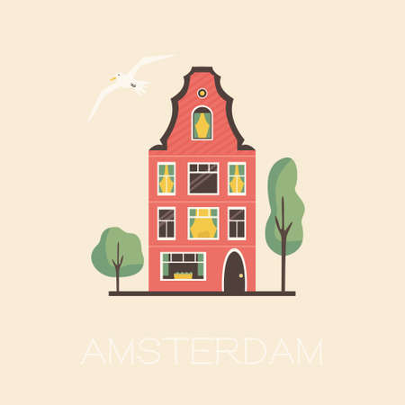 Amsterdam street with traditional building. Panorama card in a flat style. Vector illustration Illusztráció