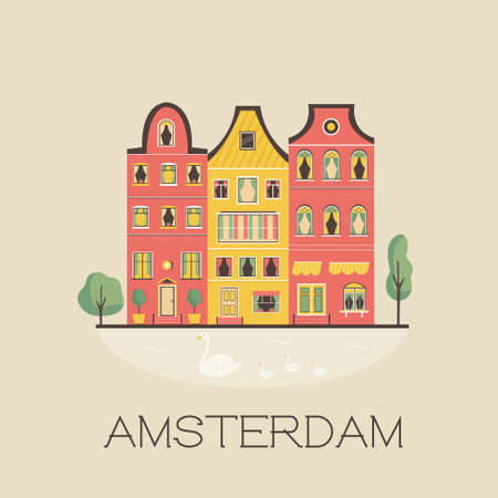 Amsterdam street with traditional buildings. Panorama card in a flat style. Vector illustration