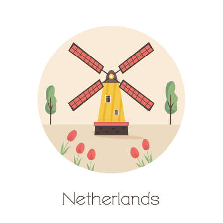 Traditional rural windmill, symbol of Netherlands. Vector illustration in a flat style
