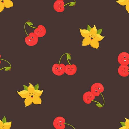 Seamless pattern with funny dragon fruits and cherries. Illusztráció