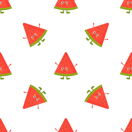 Seamless pattern with funny watermelons. Vector illustration for kitchen decoration, product design, food wrapping Illusztráció