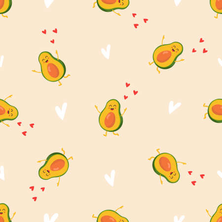 Seamless pattern with funny bright avocado characters. Illusztráció