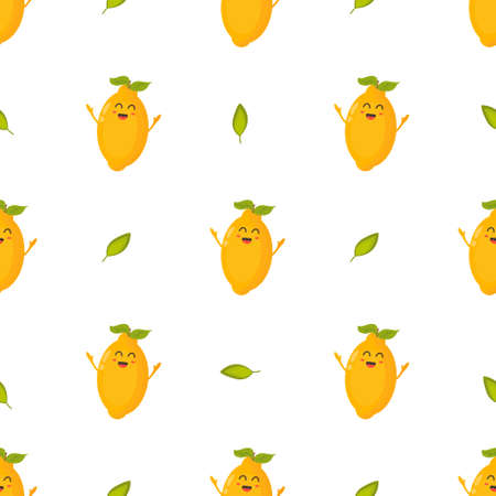 Seamless pattern with funny lemon characters. Vector illustration for kitchen decoration, product design, food wrapping