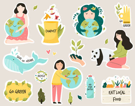 Set of colorful stickers with eco friendly slogans and illustrations. Composting, Trees planting, Eating local food, Bring your own bag concepts.