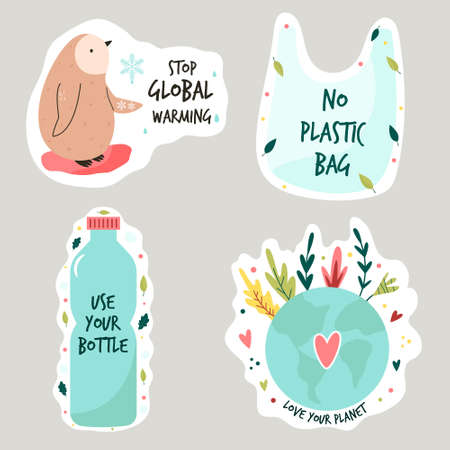 Set of colorful stickers with eco friendly slogans and illustrations. Stop global warming, no plastics, Earth protection concept. Illusztráció