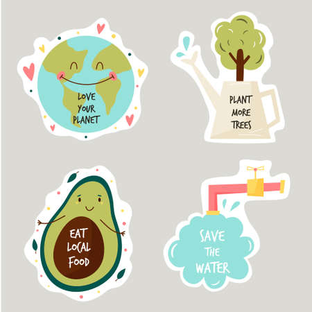 Set of colorful stickers with eco friendly slogans and illustrations. Earth protection, Trees planting, Eating local food, Saving water. Illusztráció