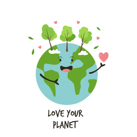 Happy green Earth planet and text Love your planet. Vector illustration Illusztráció