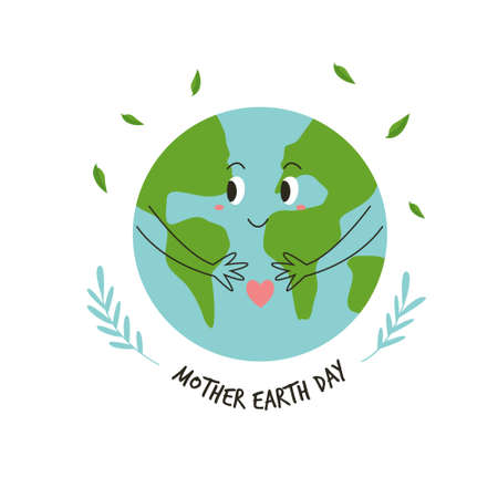 Illustration of a happy green planet for Earth day. Vector design Illusztráció