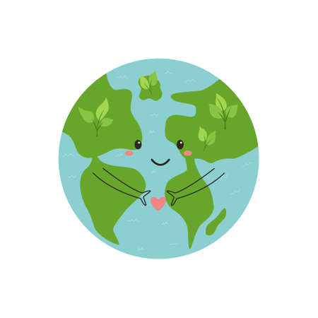 Happy smiling Earth Planet holding heart. Vector illustration, design