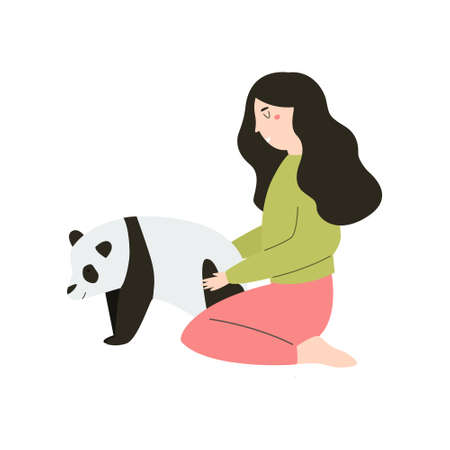 Young girl hugging smiling Earth planet. Love you planet concept. Nature conservation. Cute Vector illustration Illusztráció
