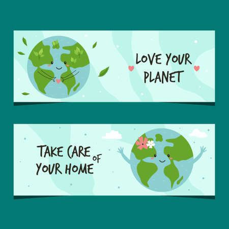 Set of two banners with Earth planet. Love your planet concept. Vector illustration Illusztráció